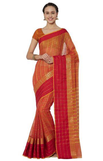 SATIMA | Peach and Red Cotton Silk Woven Zari Saree