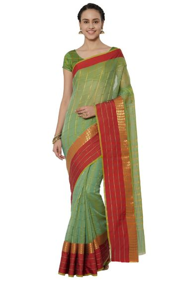 SATIMA | and Red Cotton Silk Woven Zari Saree