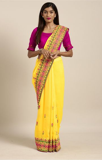 SATIMA   Yellow Georgette Thread Embroidery Saree