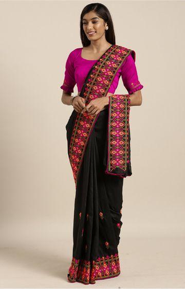 SATIMA | Black Georgette Thread Embroidery Saree