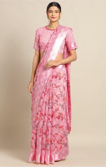 SATIMA   Pink Linen Cotton Flower Print with Satin Border