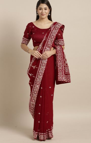 SATIMA | Red Georgette Embroidery Saree