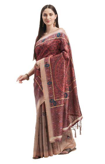 SATIMA | Multi Silk Print and Tassels Saree