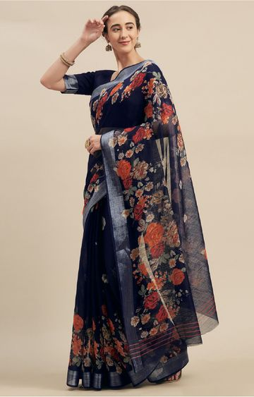 SATIMA | Navy Linen Cotton Floral Print Saree
