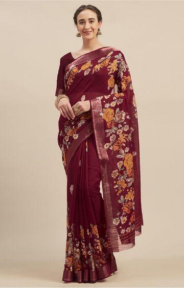 SATIMA | Maroon Linen Cotton Floral Print Saree