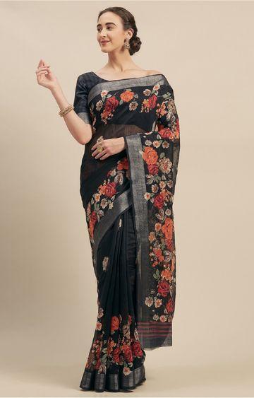 SATIMA | Black Linen Cotton Floral Print Saree