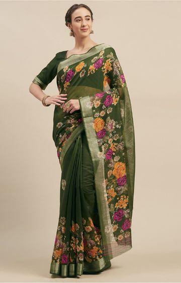SATIMA | Linen Cotton Floral Print Saree