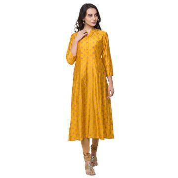 Ethnicity | Ethnicity Women Fashion Gadhwal Three-Fourth Mustard Kurta