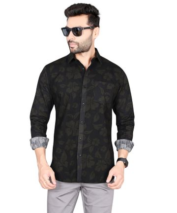 5th Anfold   Flower printed green pure cotton  printed full sleev Slim Collar  shirt by 5th Anfold