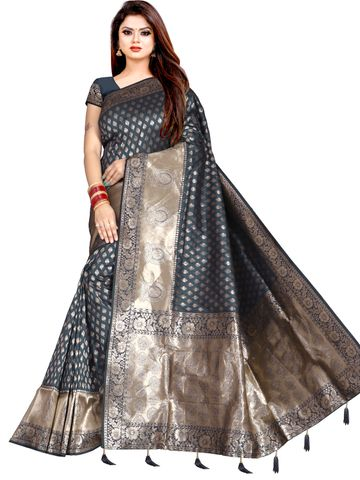 Glemora | Glemora Saree for Women Banarasi Silk With Blouse, Women Silk Sarees ( Grey )