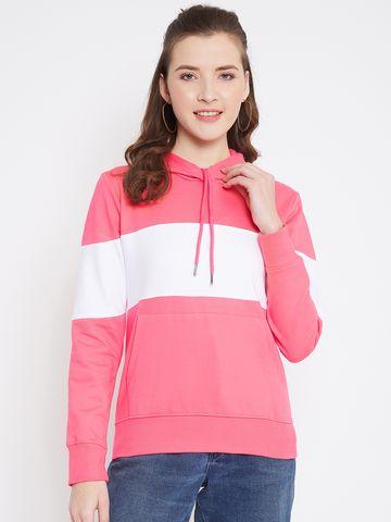 Jhankhi | Pink Regular Fit Full Sleeves Hoodie
