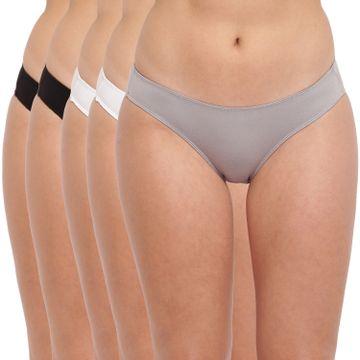 BASIICS by La Intimo | Grace Well Bikini Brief - Black,Grey,White (Pack Of 5)