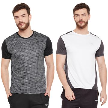 Masch Sports | Masch Sports Mens Polyester Printed & Colourblocked T-Shirts - Pack of 2 (Black White & Dark Grey)