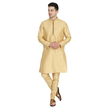 TAHVO | TAHVO men solid golden kurta with churidar