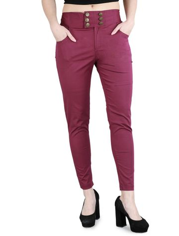 DEVS AND DIVAS | DEVS AND DIVAS Candy Red Sapphire Pants Trouser for Women