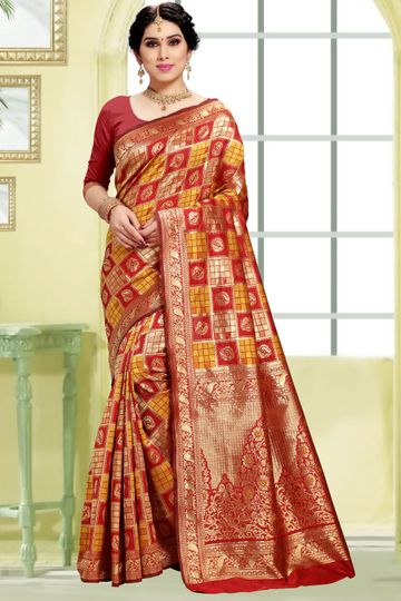 POONAM TEXTILE | Women's Checkered Woven Banarasi Art Silk Saree (Red)