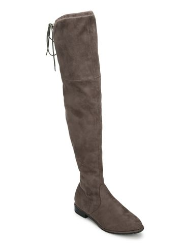 Truffle Collection   Grey Micrco High Knee Flat Boots