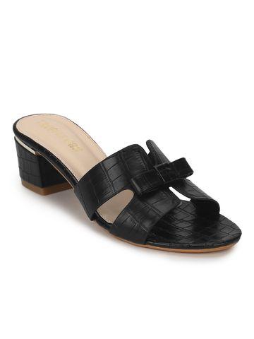 Truffle Collection | Black PU Low Heel Croc Mules