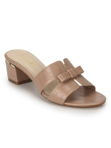 Truffle Collection | Nude PU Low Heel Croc Mules