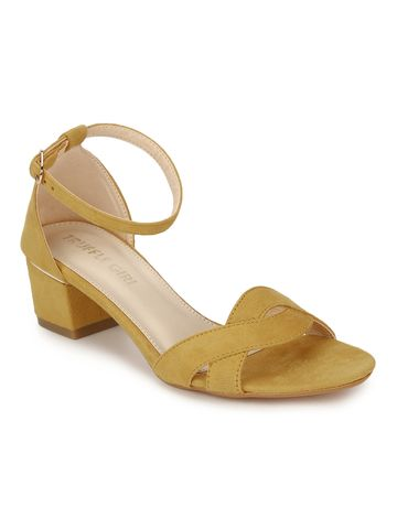 Truffle Collection | Mustard Micro Low Heel Sandals