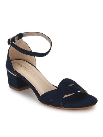 Truffle Collection | Navy Blue Micro Low Heel Sandals