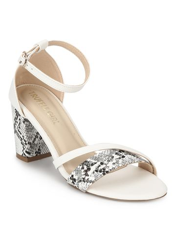 Truffle Collection | White PU Snake Pattern Block Heels
