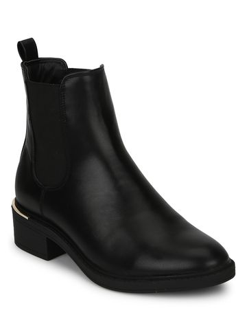 Truffle Collection | Black PU Low Heel Ankle Boots