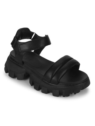 Truffle Collection | Truffle Collection Black PU Cleated Bottom Chunky Sandals