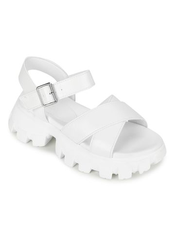 Truffle Collection | Truffle Collection White PU Cleated Bottom Chunky Sandals With Buckle