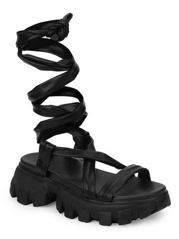 Truffle Collection | Truffle Collection Black PU Cleated Bottom Gladiator Chunky Sandals