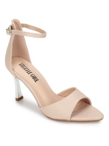Truffle Collection | Nude PU Pointed Toe Stilettos