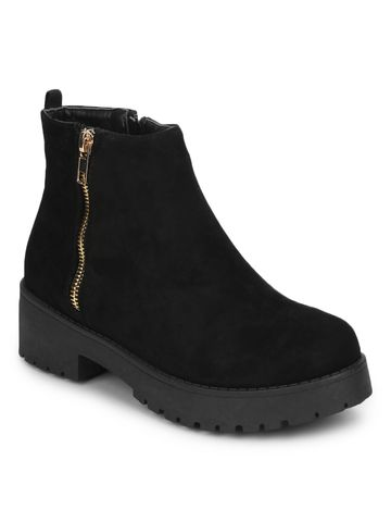 Truffle Collection | Black Micro Gold Zip Low Heel Ankle Boots