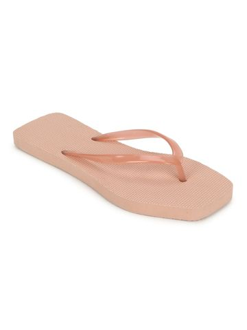 Truffle Collection | Beige EVA Flip Flops With Square Front
