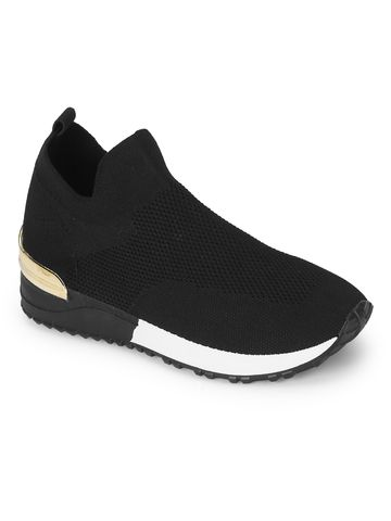 Truffle Collection | Truffle Collection Black Knit White Sole Slip On Sneakers