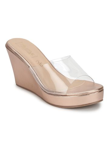 Truffle Collection | Rosegold Clear Strap Peep Toe Slip On Wedges