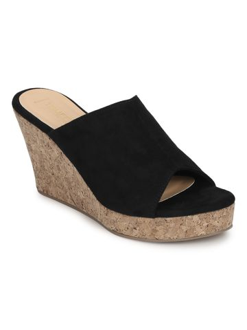 Truffle Collection | Black Micro Peep Toe Slip On Wedges