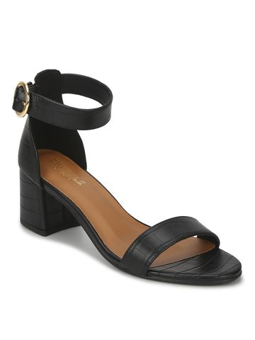 Truffle Collection | Black PU Snake Pattern Low Heel Sandals