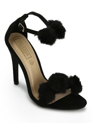 Truffle Collection | Black Micro Pom Pom Stilettos