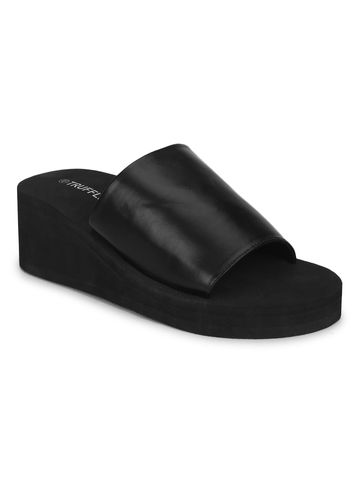 Truffle Collection | Black EVA Slip On Wedges
