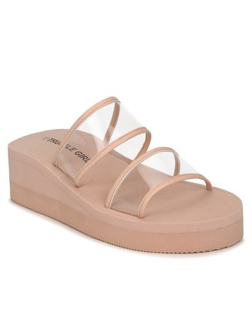 Truffle Collection | Beige PVC Wedges With Wide Clear Straps