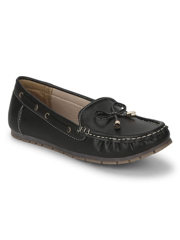Truffle Collection | Black PU Loafers With Bow