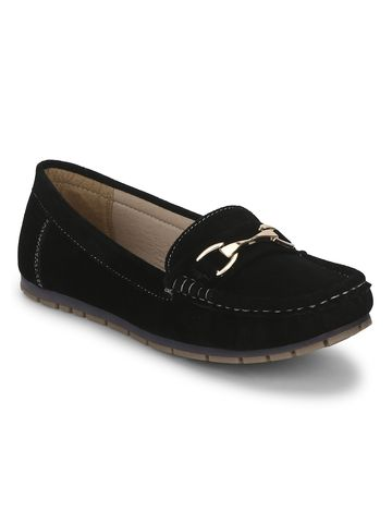 Truffle Collection   Black Micro Loafers With Chain
