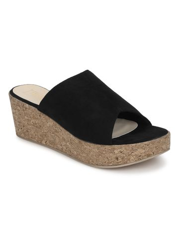 Truffle Collection | Black Micro Slip On Wedges
