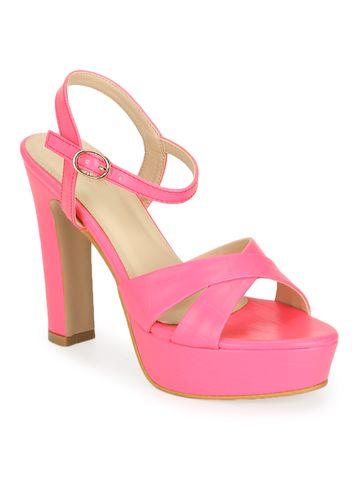 Truffle Collection | Neon Pink PU High Platform Heels