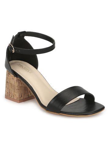 Truffle Collection   Black PU Low Block Heel Sandals