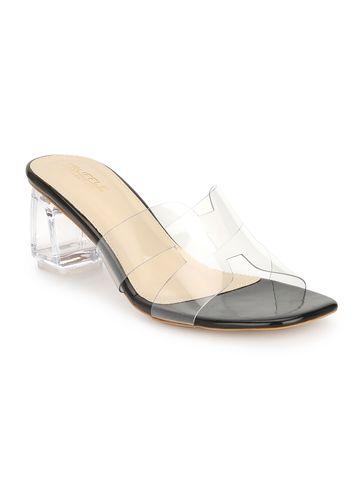 Truffle Collection   Black Patent Perspex Block Heel Mules