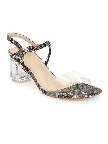 Truffle Collection   Black PU Snake Pattern Sandals