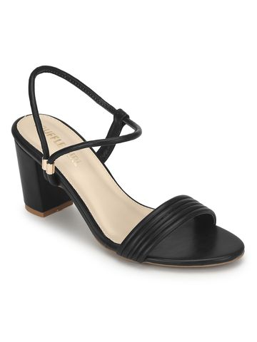 Truffle Collection | Black PU Sandals With Slip On Straps