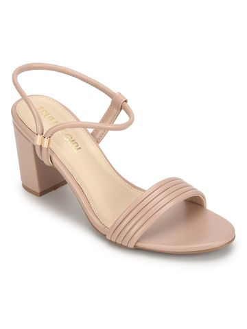 Truffle Collection | Nude PU Sandals With Slip On Straps