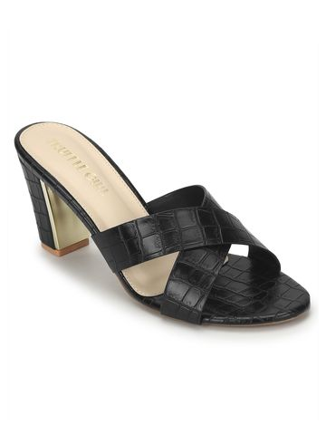 Truffle Collection | Black PU Block Heel Slip On Mules